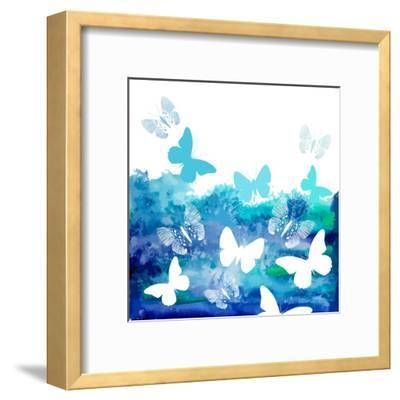 Watercolor Blue Background with Butterflies. Vector-Ihnatovich Maryia-Framed Art Print