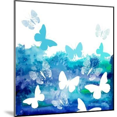 Watercolor Blue Background with Butterflies. Vector-Ihnatovich Maryia-Mounted Art Print