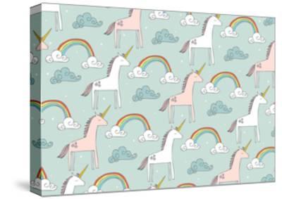 Seamless Unicorn Vector/Illustration- lyeyee-Stretched Canvas Print
