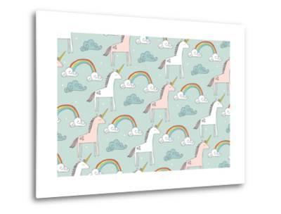Seamless Unicorn Vector/Illustration- lyeyee-Metal Print