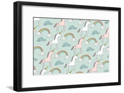Seamless Unicorn Vector/Illustration- lyeyee-Framed Art Print