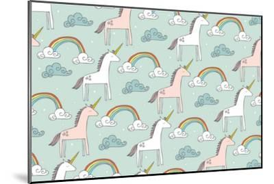 Seamless Unicorn Vector/Illustration- lyeyee-Mounted Art Print