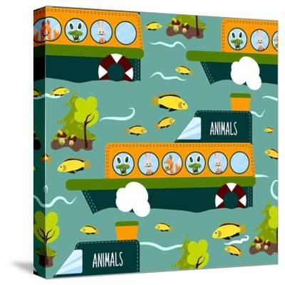 Seamless Cute Animal Wild Forest on the Ship Texture Design. Cartoon Style. Vector Illustration-Alena Dubinets-Stretched Canvas Print