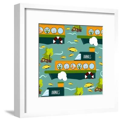 Seamless Cute Animal Wild Forest on the Ship Texture Design. Cartoon Style. Vector Illustration-Alena Dubinets-Framed Art Print