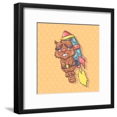 Squirrel on a Rocket-Andrew Derr-Framed Art Print