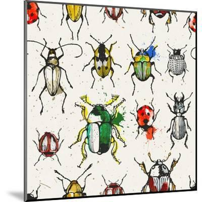 Watercolor Beetles-EV-DA-Mounted Art Print