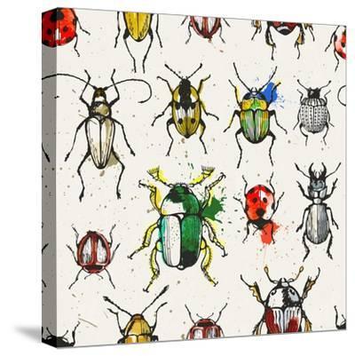 Watercolor Beetles-EV-DA-Stretched Canvas Print