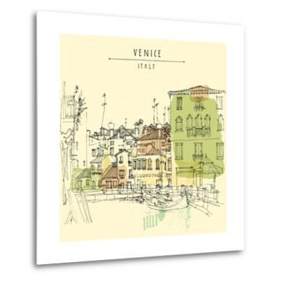 Artistic Freehand Illustration Postcard with a Touristic City View of Canareggio, Venice, Italy, Eu-babayuka-Metal Print