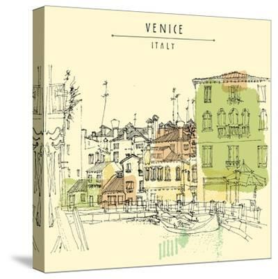 Artistic Freehand Illustration Postcard with a Touristic City View of Canareggio, Venice, Italy, Eu-babayuka-Stretched Canvas Print