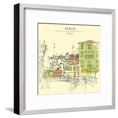 Artistic Freehand Illustration Postcard with a Touristic City View of Canareggio, Venice, Italy, Eu-babayuka-Framed Art Print