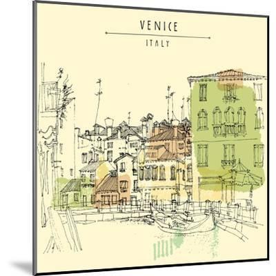 Artistic Freehand Illustration Postcard with a Touristic City View of Canareggio, Venice, Italy, Eu-babayuka-Mounted Art Print