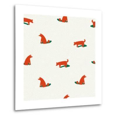 Seamless Dog Pattern-Tasiania-Metal Print