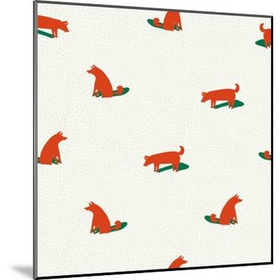 Seamless Dog Pattern-Tasiania-Mounted Art Print