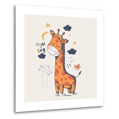 Hand Drawn Vector Illustration of Cute Giraffe Slipping in the Night/Can Be Used for Kid's or Baby'-Eteri Davinski-Metal Print