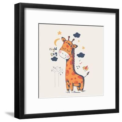 Hand Drawn Vector Illustration of Cute Giraffe Slipping in the Night/Can Be Used for Kid's or Baby'-Eteri Davinski-Framed Art Print