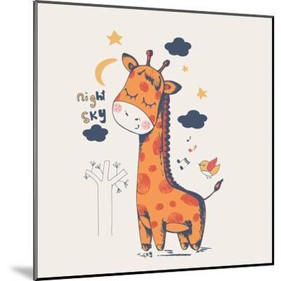 Hand Drawn Vector Illustration of Cute Giraffe Slipping in the Night/Can Be Used for Kid's or Baby'-Eteri Davinski-Mounted Art Print