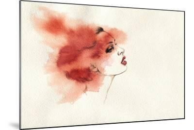 Woman Face. Hand Painted Fashion Illustration-Anna Ismagilova-Mounted Art Print