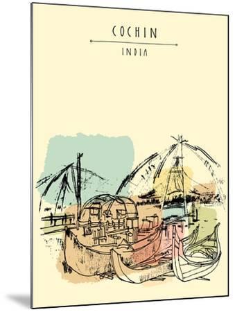 Cochin, Kerala, India. Wooden Boats and Chinese Fishing Nets on Vembanad Lake. Travel Sketchy Freeh-babayuka-Mounted Art Print