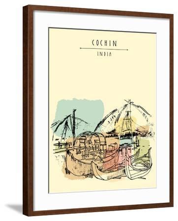 Cochin, Kerala, India. Wooden Boats and Chinese Fishing Nets on Vembanad Lake. Travel Sketchy Freeh-babayuka-Framed Art Print