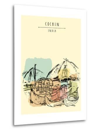 Cochin, Kerala, India. Wooden Boats and Chinese Fishing Nets on Vembanad Lake. Travel Sketchy Freeh-babayuka-Metal Print