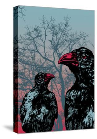 Vector Grunge Background Vith Ravens.-jumpingsack-Stretched Canvas Print