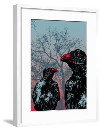 Vector Grunge Background Vith Ravens.-jumpingsack-Framed Art Print