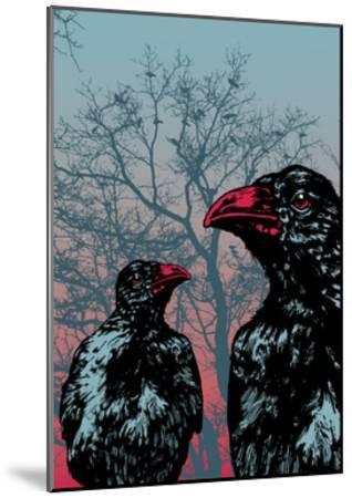 Vector Grunge Background Vith Ravens.-jumpingsack-Mounted Art Print