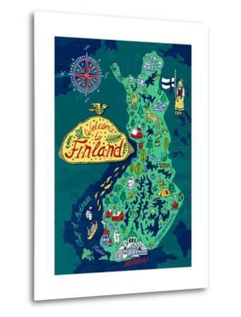 Illustrated Map of Finland. Travels-Daria_I-Metal Print