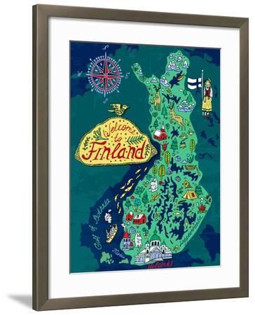 Illustrated Map of Finland. Travels-Daria_I-Framed Art Print