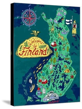 Illustrated Map of Finland. Travels-Daria_I-Stretched Canvas Print