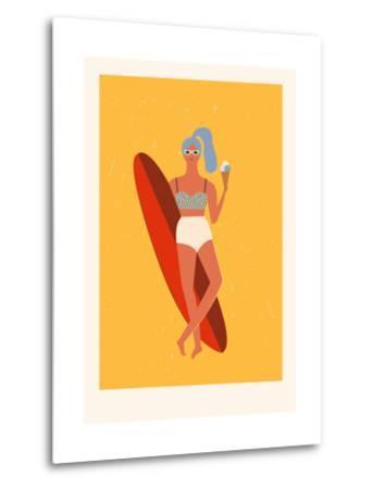 Retro Surfer Girl with Longboard Eating Ice Cream-Tasiania-Metal Print