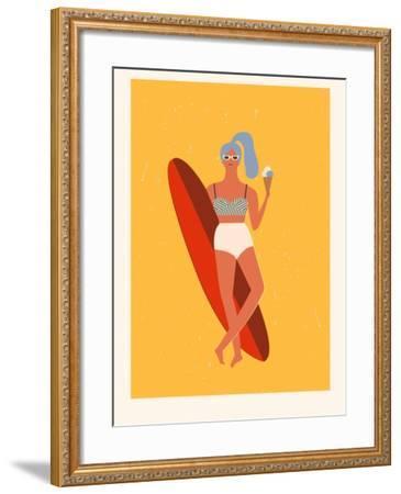 Retro Surfer Girl with Longboard Eating Ice Cream-Tasiania-Framed Art Print
