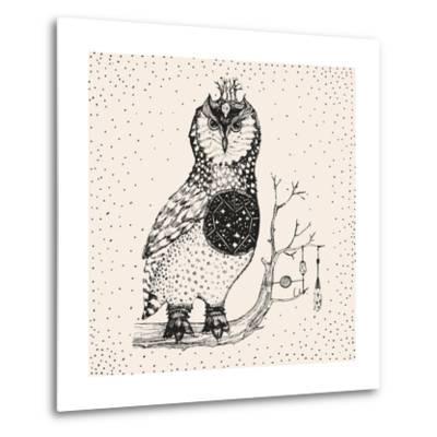 Hand Drawn Owl Illustration-Tasiania-Metal Print