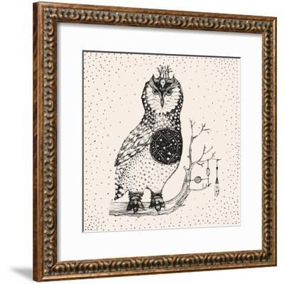 Hand Drawn Owl Illustration-Tasiania-Framed Premium Giclee Print