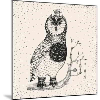 Hand Drawn Owl Illustration-Tasiania-Mounted Premium Giclee Print