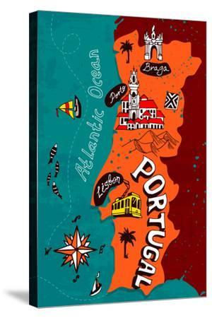 Illustrated Map of Portugal-Daria_I-Stretched Canvas Print