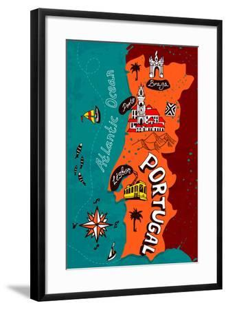 Illustrated Map of Portugal-Daria_I-Framed Art Print