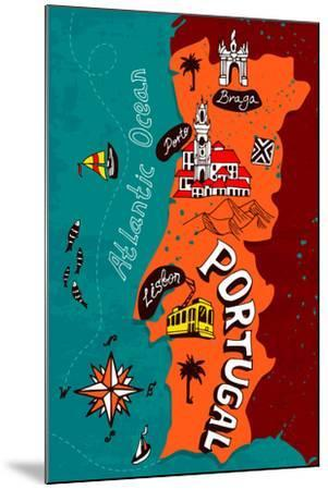 Illustrated Map of Portugal-Daria_I-Mounted Art Print