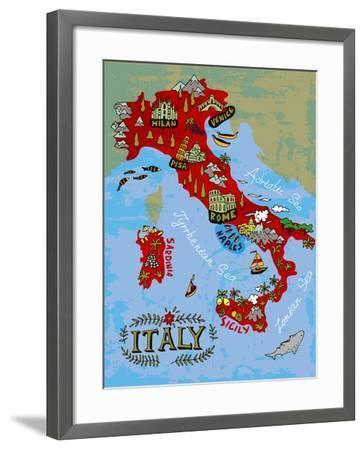 Illustrated Map of Italy. Travel-Daria_I-Framed Art Print