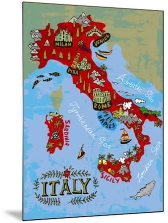Illustrated Map of Italy. Travel-Daria_I-Mounted Art Print
