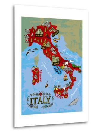 Illustrated Map of Italy. Travel-Daria_I-Metal Print