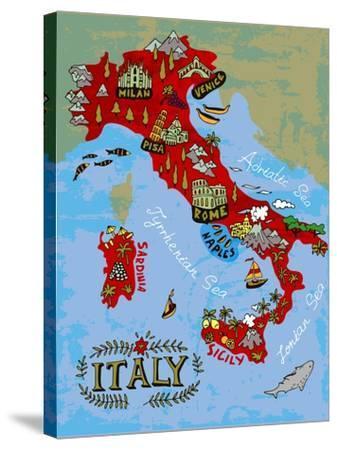 Illustrated Map of Italy. Travel-Daria_I-Stretched Canvas Print