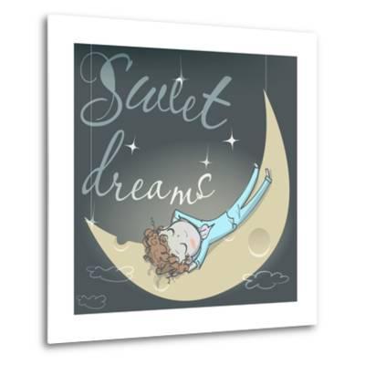 Cute Sleeping Girl on the Moon-Elena Barenbaum-Metal Print