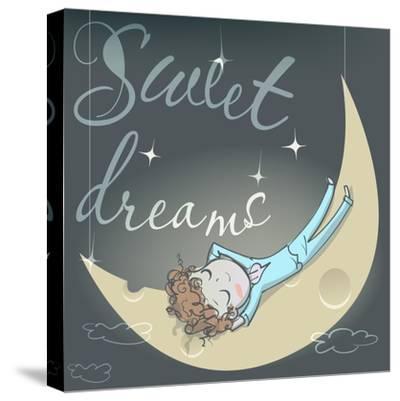 Cute Sleeping Girl on the Moon-Elena Barenbaum-Stretched Canvas Print