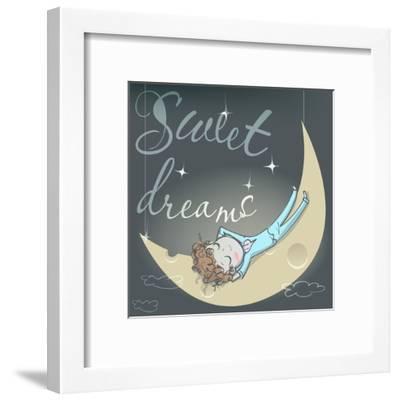 Cute Sleeping Girl on the Moon-Elena Barenbaum-Framed Art Print