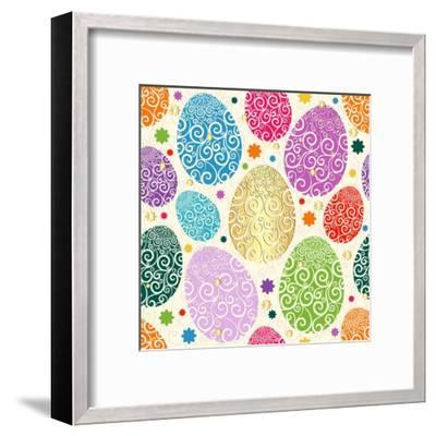 Easter Seamless Pattern with Colorful Painted Eggs Laced (Vector)-Olga Drozdova-Framed Art Print