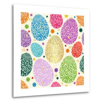 Easter Seamless Pattern with Colorful Painted Eggs Laced (Vector)-Olga Drozdova-Metal Print