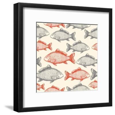 Carp Fish Asian Style Seamless Pattern. Vector Illustration-adehoidar-Framed Art Print