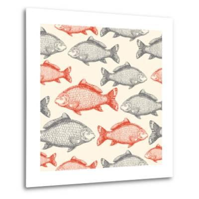 Carp Fish Asian Style Seamless Pattern. Vector Illustration-adehoidar-Metal Print