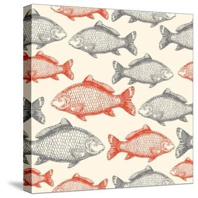 Carp Fish Asian Style Seamless Pattern. Vector Illustration-adehoidar-Stretched Canvas Print